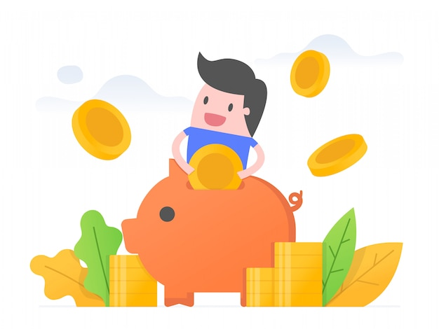 Geld sparen. Premium Vektoren