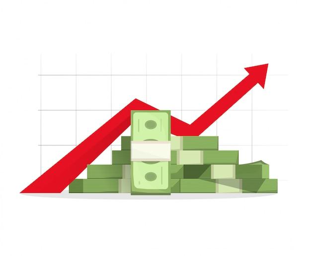 Geld steigender gewinn Premium Vektoren