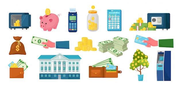 Geld und finanzen eingestellt. geldautomat, pos-terminal, sparschwein, elektronischer safe mit stapel dollar, goldmünzen. banktresor, lagerung mit sperrcode. nfc-system. Premium Vektoren