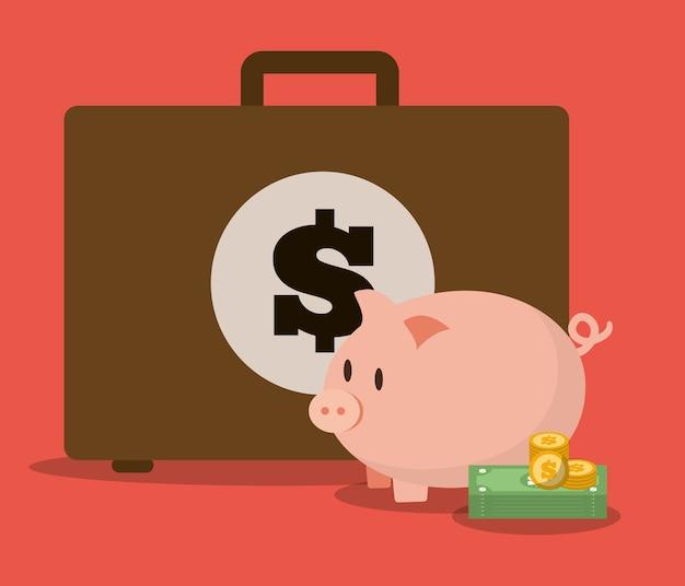 Geld- und kofferikonendesign, vektorillustration Premium Vektoren