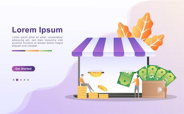 Geld verdienen und online-zahlungs-konzept. Premium Vektoren