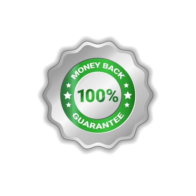 Geld zurück badge 100 prozent isoliert Premium Vektoren