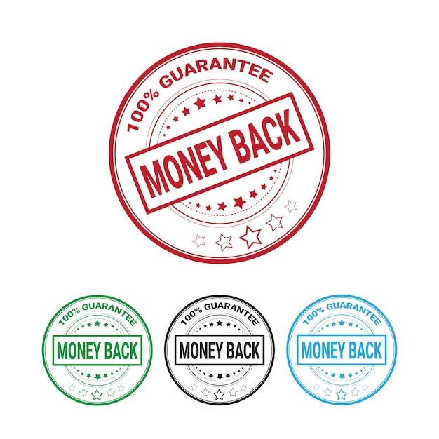 Geld-zurück-garantie 100 prozent abzeichen set isoliert Premium Vektoren