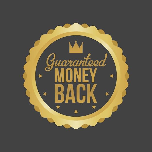 Geld-zurück-garantie gold sign, label Premium Vektoren