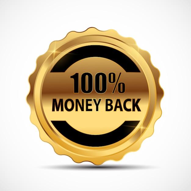 Geld-zurück-garantie goldschild, etikett Premium Vektoren