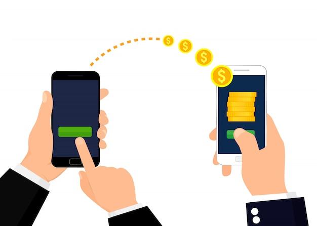 Geldabbildung senden und empfangend Premium Vektoren