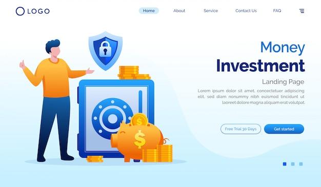 Geldanlage-zielseiten-websiteillustration Premium Vektoren