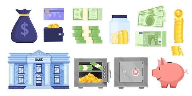Geldbank oder budget sparende illustration Premium Vektoren