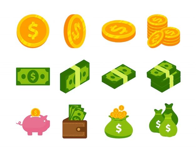 Geldbargeld und münzenvektor-ikonendesign Premium Vektoren
