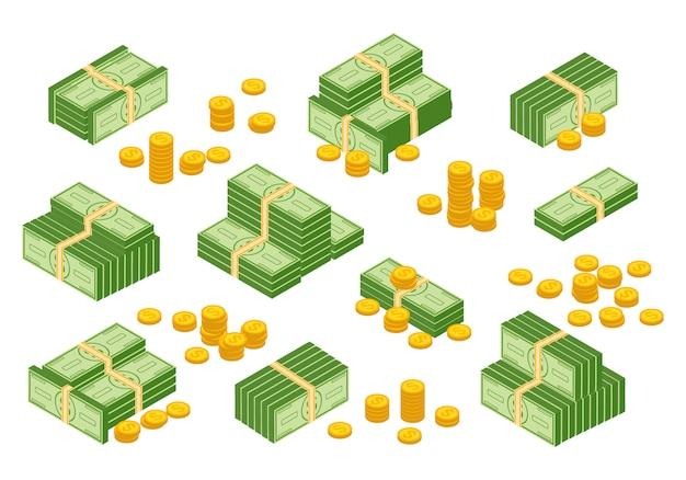 Geldbargeldhaufen, dollar, bargeldpapierbanknoten, goldmünzen Premium Vektoren