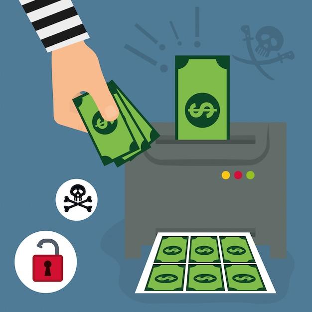 Geldbetrug und hacking-design Premium Vektoren