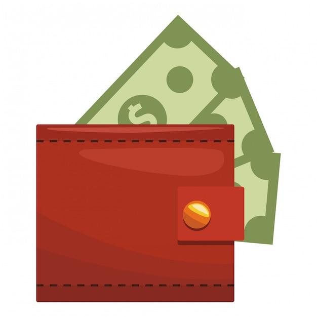 Geldbörse geldsymbol Premium Vektoren