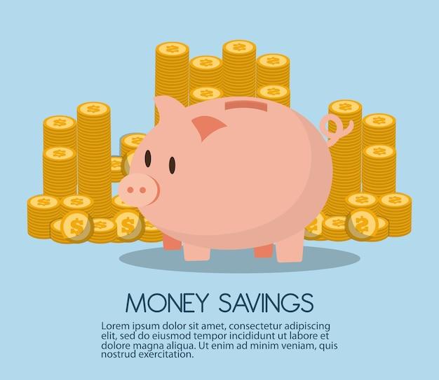 Geldeinsparungen mit piggy design, vektorillustration Premium Vektoren