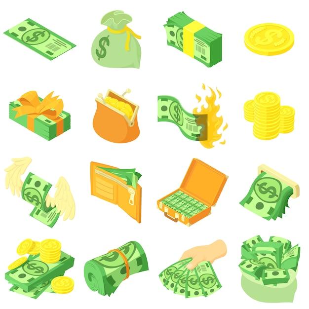 Geldmünzendollarikonen eingestellt. isometrische illustration von 16 geldmünzendollar-vektorikonen für netz Premium Vektoren