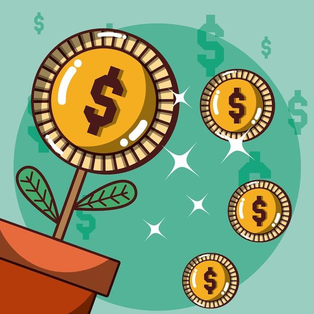 Geldpflanze im topfkarikaturvektor-illustrationsgrafikdesign Premium Vektoren