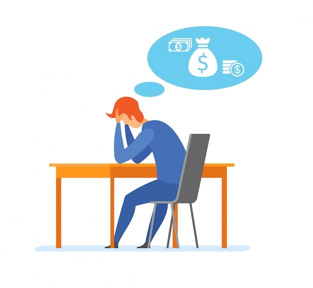 Geldproblem finanzielles problem flache illustration Premium Vektoren