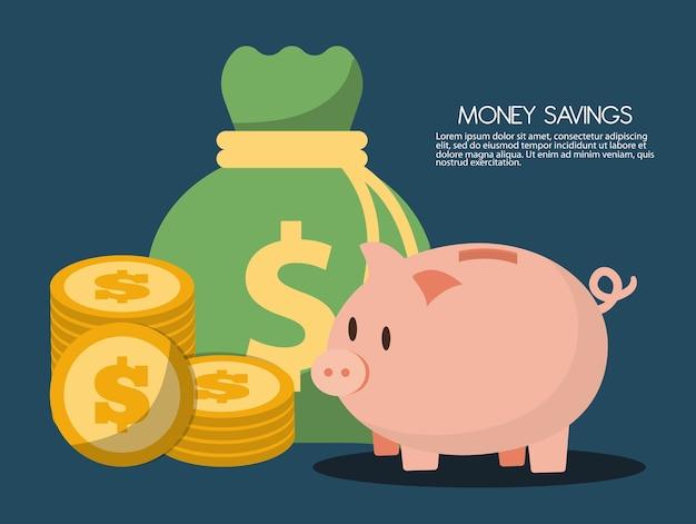 Geldsackdesign, vektorillustration Premium Vektoren