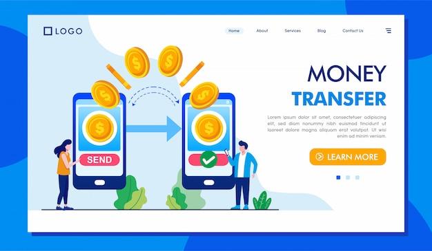 Geldtransfer landing page website Premium Vektoren