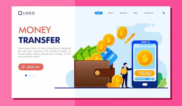 Geldüberweisung landing page website illustration template Premium Vektoren