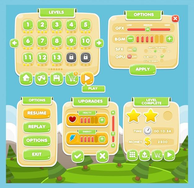 Gelegenheitsspiel-gui Premium Vektoren