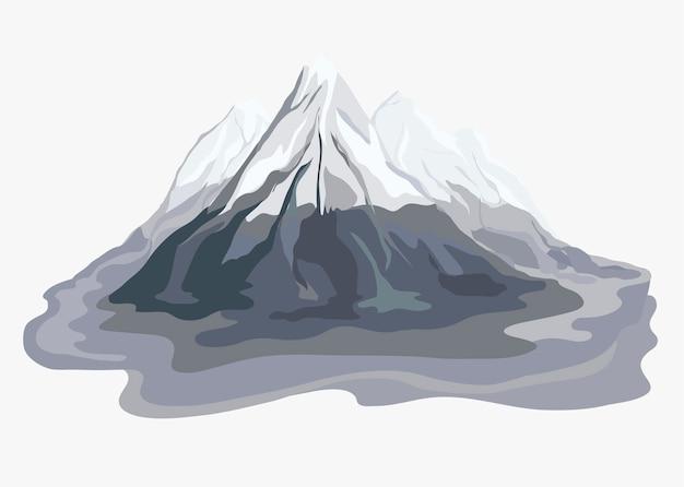 Gemalte bergblick-landschaftsillustration Kostenlosen Vektoren