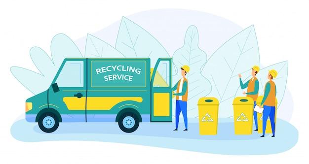 Gemeinderecycling-servicekräfte, die abfall laden Premium Vektoren