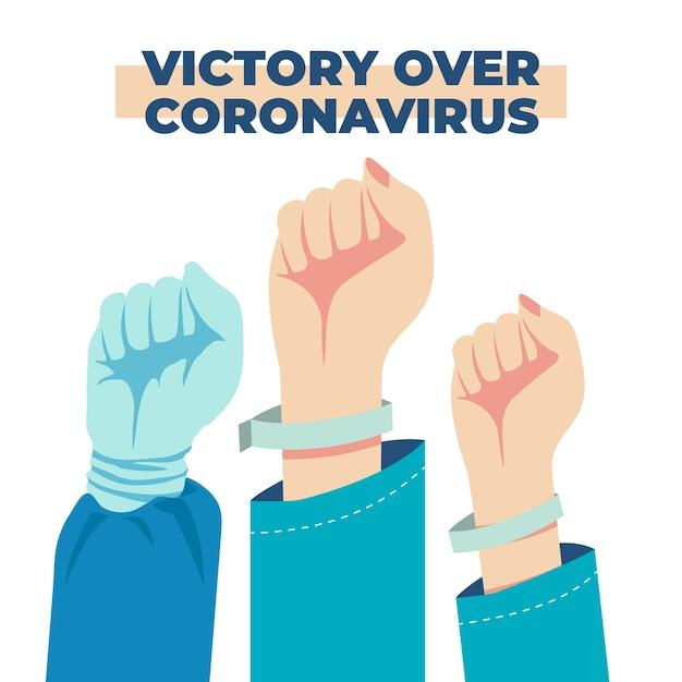 Gemeinsam gegen das coronavirus gewinnen Kostenlosen Vektoren
