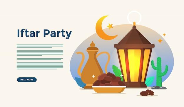 Gemeinsames essen nach dem fasten fest iftar party. moslemisches familienabendessen auf ramadan kareem oder eid, die mit leutecharakterkonzept für netzlandungsseitenschablone feiern Premium Vektoren