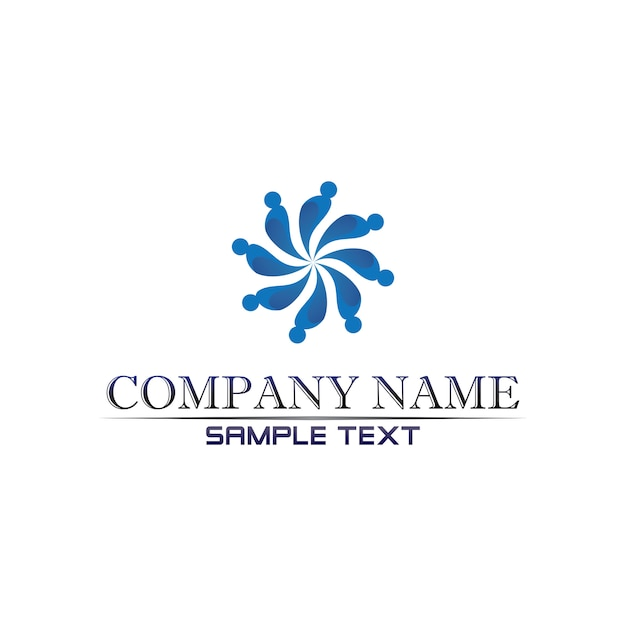 Gemeinschaftspflege logo people in circle vector concept Premium Vektoren