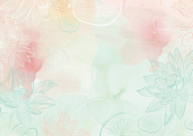 Gemischte farben spritzen hintergrund mit lotushand gezeichnet Premium Vektoren