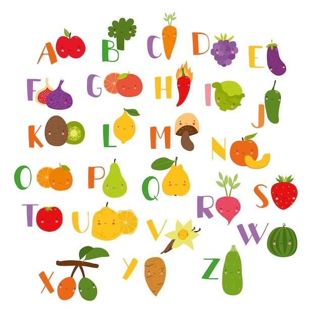 Gemüse alphabet schöne früchte Kostenlosen Vektoren