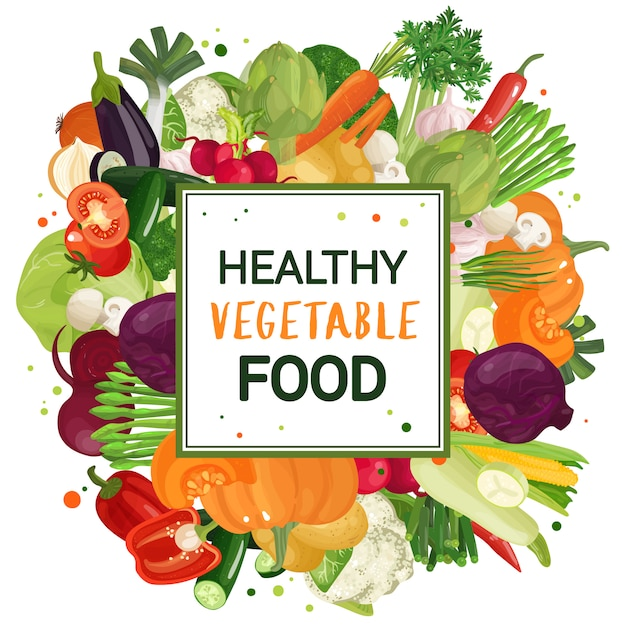 Gemüse dekorrahmen Kostenlosen Vektoren