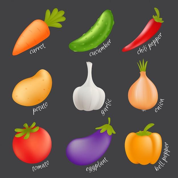 Gemüse eingestellt. karikatur-gesundes nahrungsmittelkonzept mit isoliertem gemüse - karotte, gurke, paprika, kartoffel, knoblauch, zwiebel, tomate, aubergine, paprika Premium Vektoren