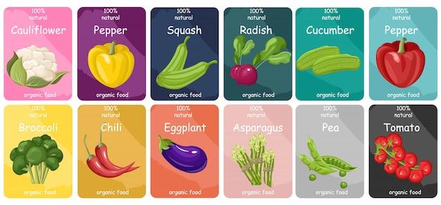 Gemüse-etiketten-auflistung Premium Vektoren