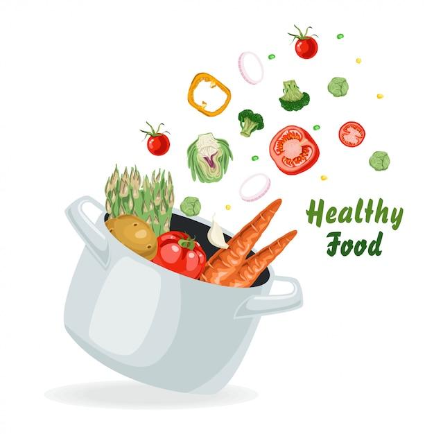 Gemüse fliegt in den topf Premium Vektoren