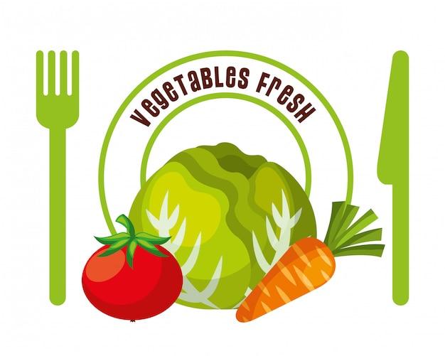 Gemüse frische lebensmittel Premium Vektoren