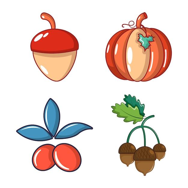 Gemüse-icon-set. karikatursatz gemüsevektorikonen eingestellt lokalisiert Premium Vektoren