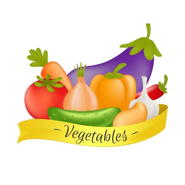 Gemüse mit gelbem band. karikatur-gesundes nahrungsmittelkonzept mit gemüse lokalisiert auf weißem hintergrund - karotte, gurke, paprika, kartoffel, knoblauch, zwiebel, tomate, aubergine und paprika Premium Vektoren