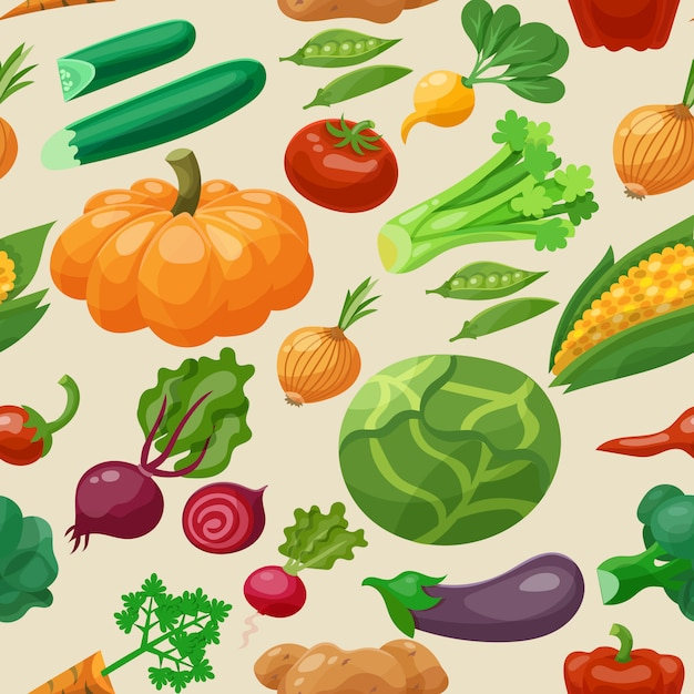Gemüse-nahtloses muster Kostenlosen Vektoren
