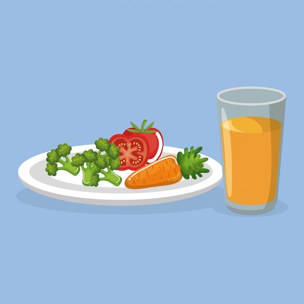 Gemüse und saft leckeres essen frühstück Kostenlosen Vektoren
