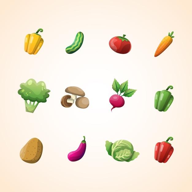 Gemüse-vektor-sammlung Premium Vektoren