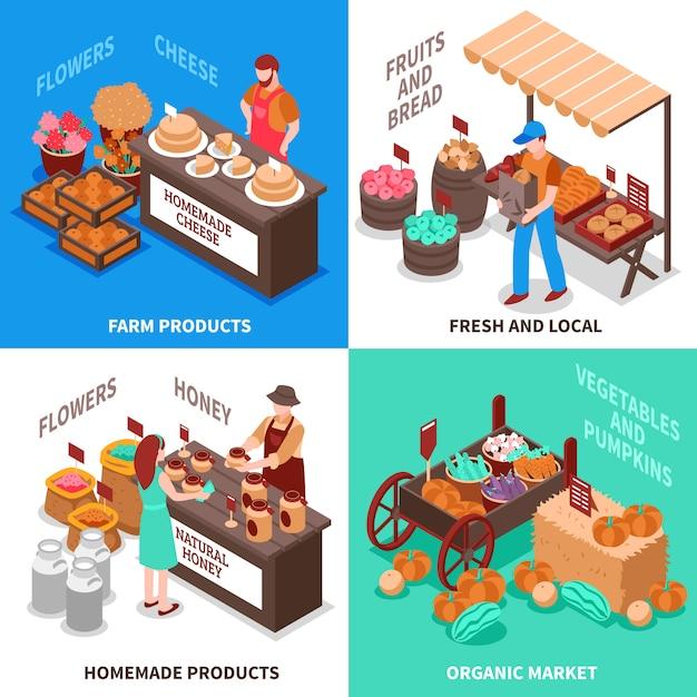 Gemüsehändler-markt-kompositionssatz Kostenlosen Vektoren