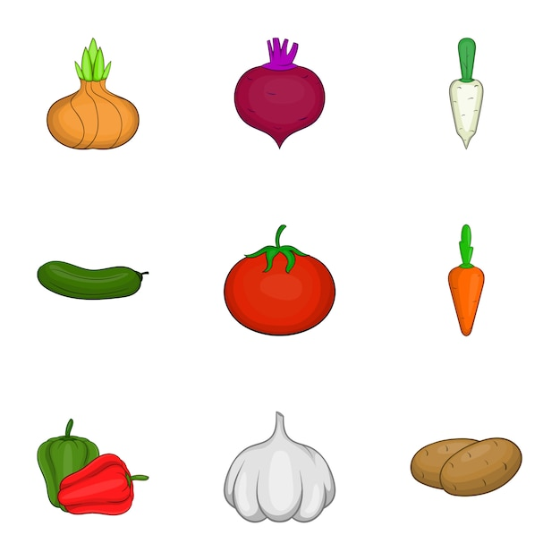 Gemüseikonen eingestellt, karikaturart Premium Vektoren