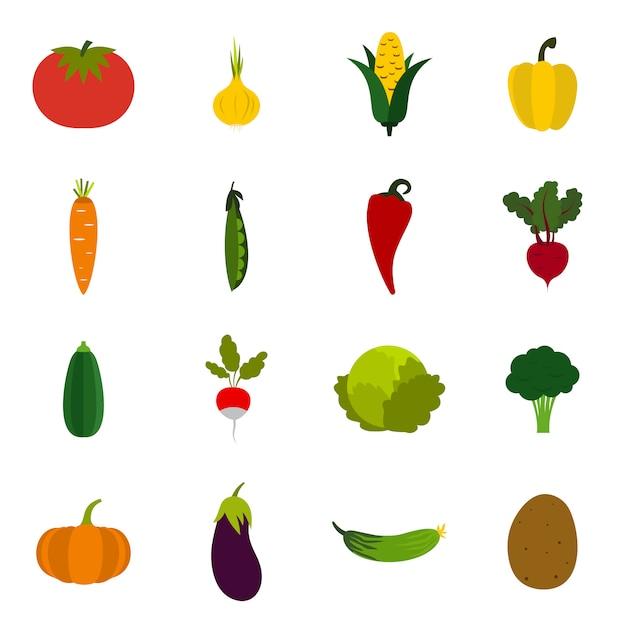 Gemüseikonen eingestellt Premium Vektoren