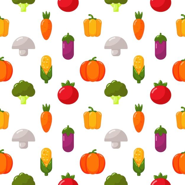 Gemüseikonen stellten nahtloses musterisolat auf weiß ein Premium Vektoren