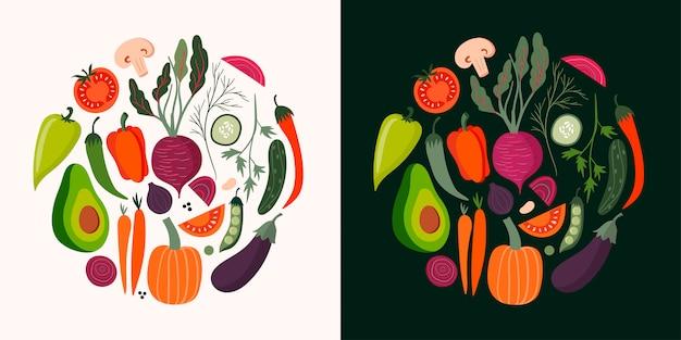 Gemüsekartensammlung mit hand gezeichneten lokalisierten elementen Premium Vektoren