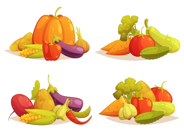 Gemüsekompositionen 4 icons square set Kostenlosen Vektoren
