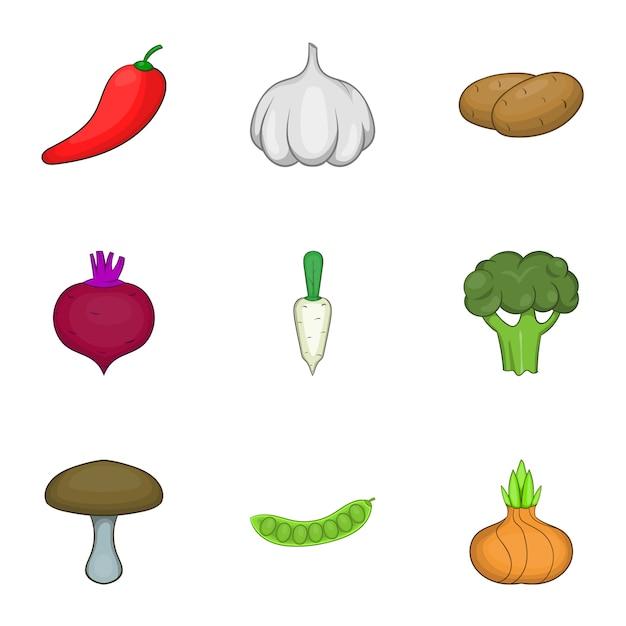 Gemüsekultur-set, cartoon-stil Premium Vektoren