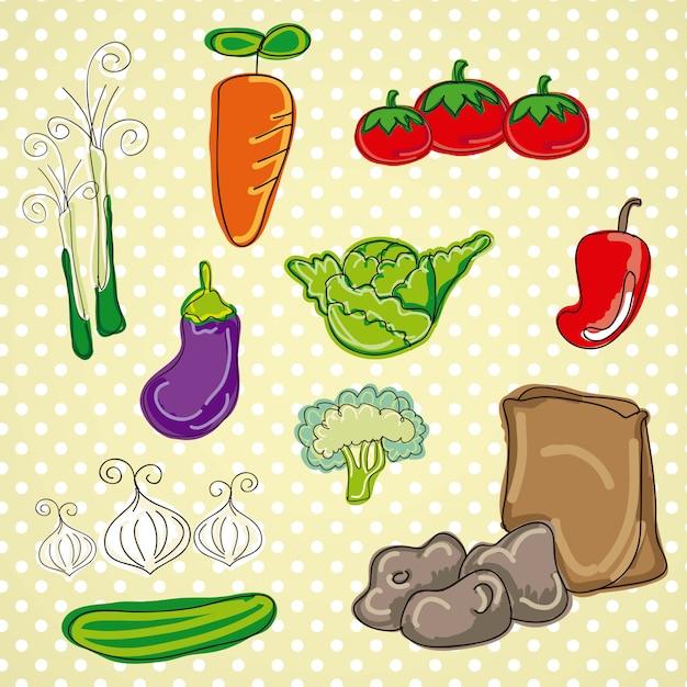 Gemüselebensmittel der bunten und netten vektorikonen lokalisiert Premium Vektoren