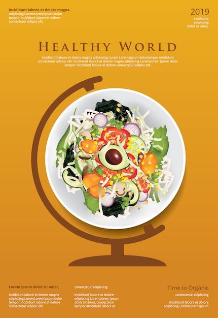 Gemüsesalat-biologisches lebensmittel-plakat-schablonen-illustration Premium Vektoren